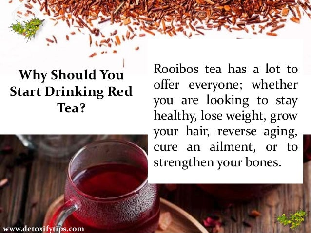 Why Should You Start Drinking Red Tea? www.detoxifytips.com Rooibos tea has a lot to offer everyone; whether you are looki...