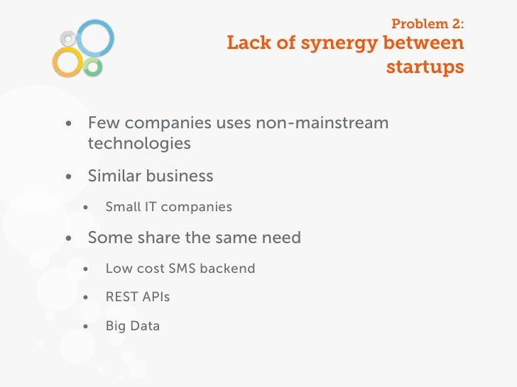 Problem 2:                       Lack of synergy between                                       startups• Few companies use...