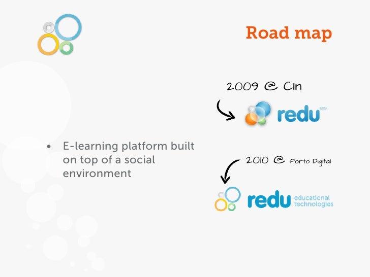 Road map                              2009 @ CIn• E-learning platform built  on top of a social            2010 @   Porto ...