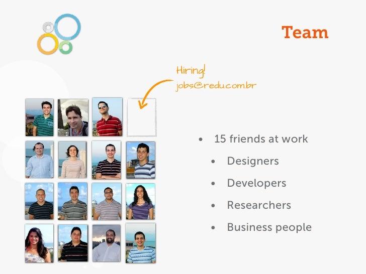 TeamHiring!jobs@redu.com.br     • 15 friends at work          • Designers          • Developers          • Researchers    ...