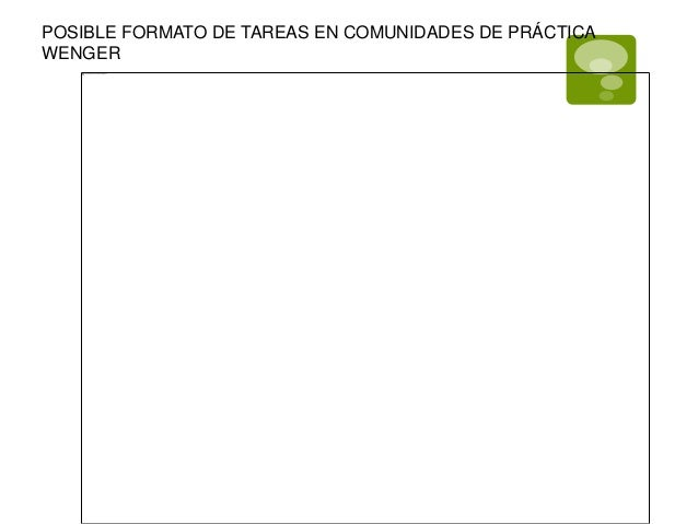 POSIBLE FORMATO DE TAREAS EN COMUNIDADES DE PRÁCTICA  WENGER