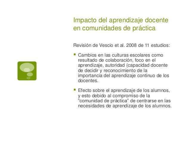 Impacto del aprendizaje docente  en comunidades de práctica  Revisión de Vescio et al. 2008 de 11 estudios:   Cambios en ...