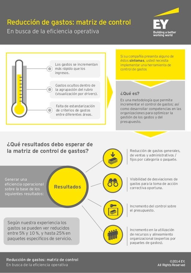 infografía reducción de gastos matriz de control