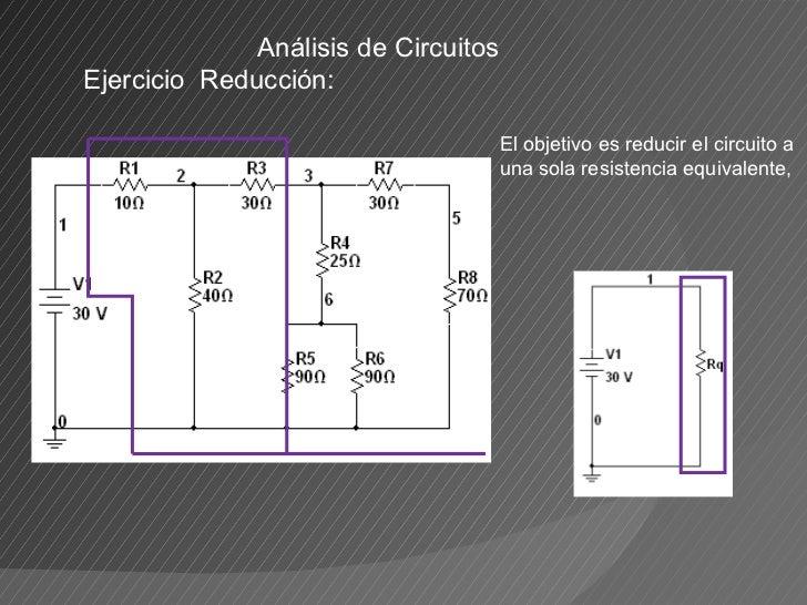 Análisis de Circuitos Ejercicio  Reducción:  El objetivo es reducir el circuito a una sola resistencia equivalente,