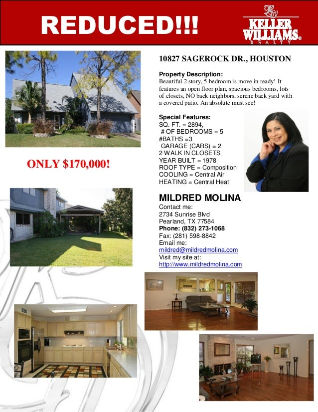 REDUCED!!! 10827 SAGEROCK DR., HOUSTON Property Description: Beautiful 2 story, 5 bedroom is move in ready! It features an...