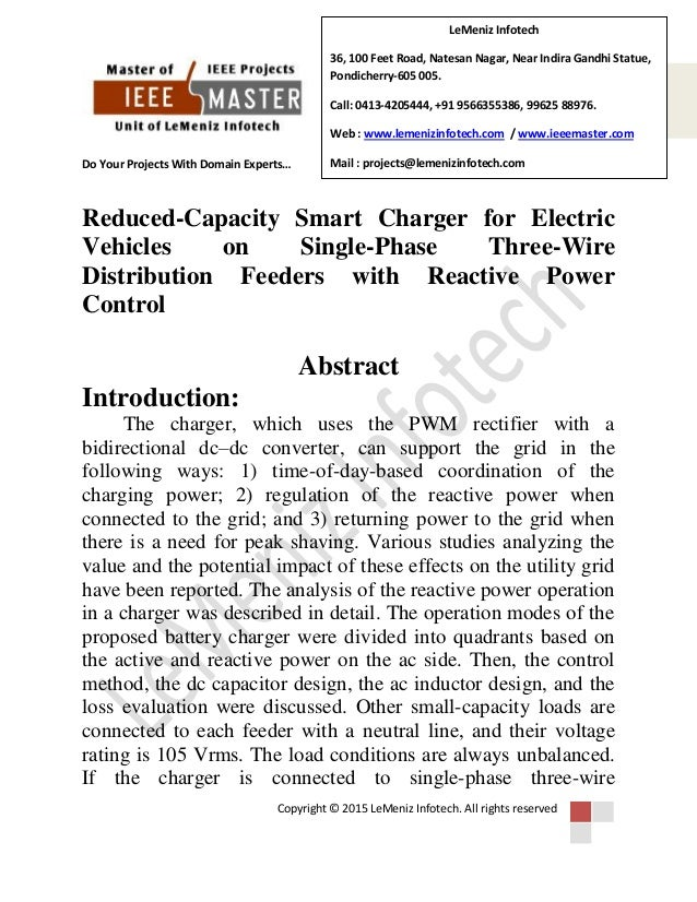 Reduced capacity smart charger for electric vehicles on single-phase …