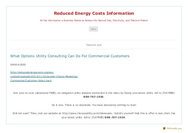 Reduced Energy Costs Information All the information a Business Needs to Reduce Its Natural Gas, Electricity, and Telecom ...