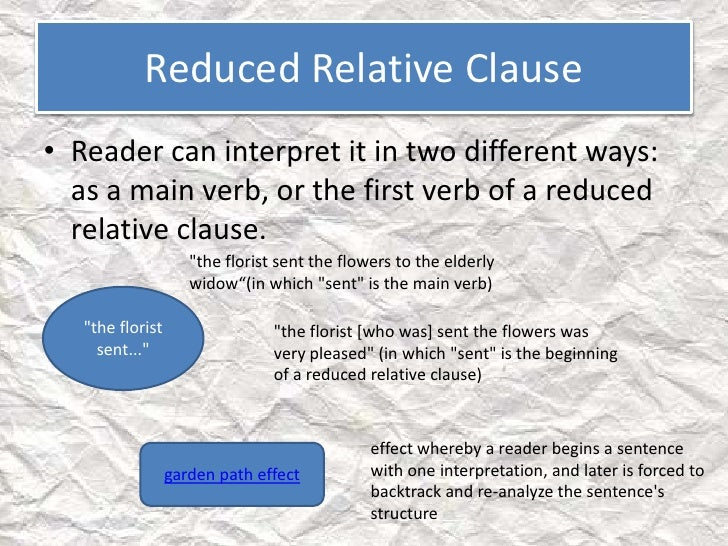 Reduced relative clause
