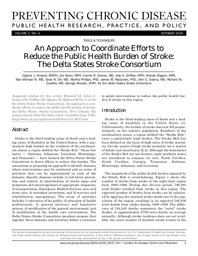 VOLUME 1: NO. 4 OCTOBER 2004An Approach to Coordinate Efforts toReduce the Public Health Burden of Stroke:The Delta States...