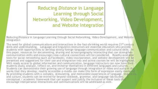 Reducing Distance in Language Learning (using technologies) Slide 2