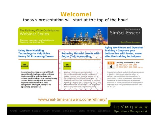 Welcome!today's presentation will start at the top of the hour!       www.real-time-answers.com/refinery/