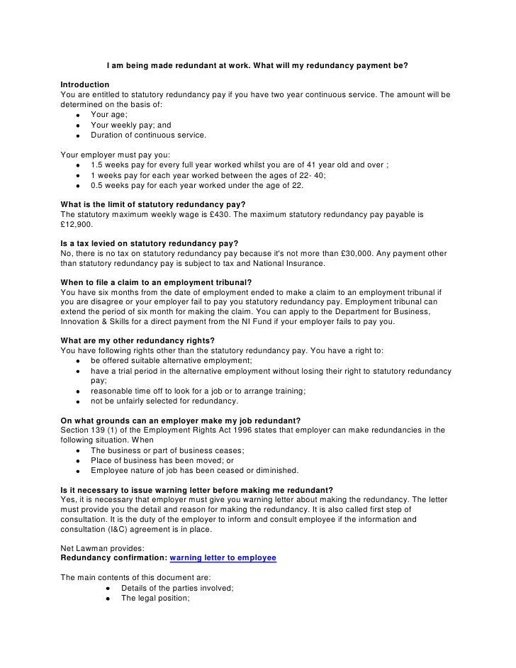 Warning letter to employee warning letter to employee i am being made redundant at work what will my redundancy payment be altavistaventures Image collections