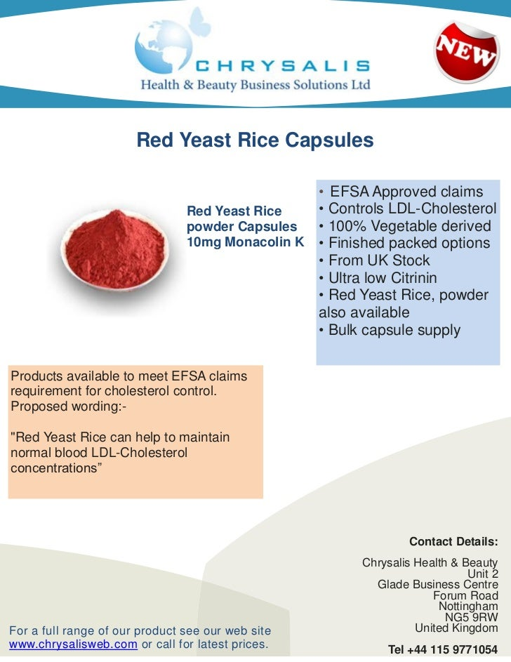 Red Yeast Rice Capsules                                                 • EFSA Approved claims                            ...