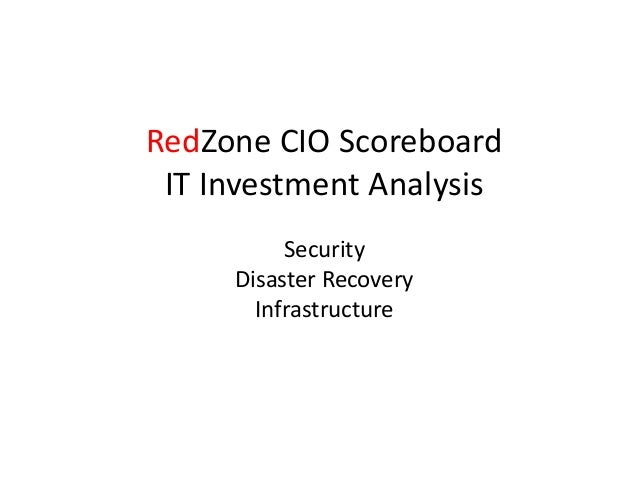 RedZone CIO Scoreboard IT Investment Analysis Security Disaster Recovery Infrastructure