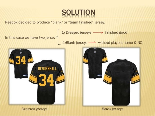 reebok nfl replica jerseys case study Reebok nfl replica jerseys:  reebok nfl replica jerseys: a case for postponement  how might reebok decide between dressed jerseys and blank jerseys.