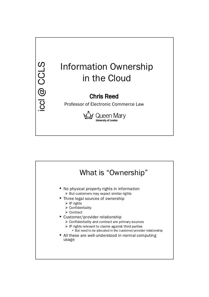 Information ownership in the cloud