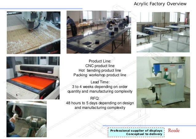 ReedeProfessional supplier of displays Conceptual to delivery Acrylic Factory Overview Product Line: CNC product line Hot ...