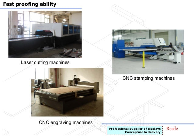 ReedeProfessional supplier of displays Conceptual to delivery Fast proofing ability CNC stamping machines Laser cutting ma...