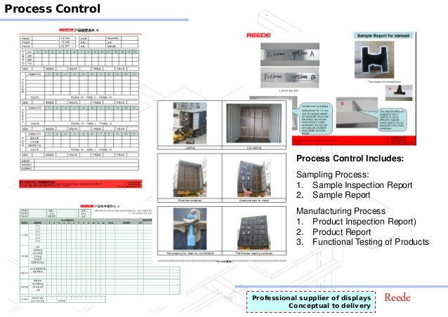 ReedeProfessional supplier of displays Conceptual to delivery Process Control Process Control Includes: Sampling Process: ...