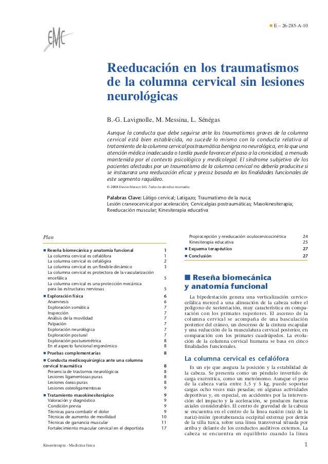 ¶ E – 26-285-A-10  Reeducación en los traumatismos de la columna cervical sin lesiones neurológicas B.-G. Lavignolle, M. M...