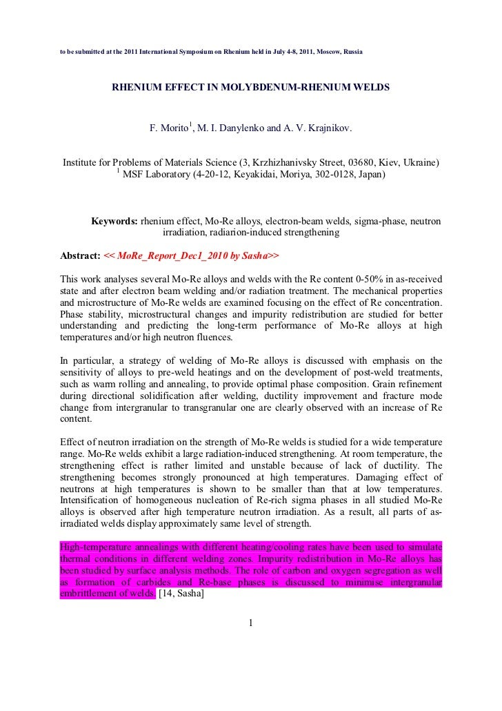 to be submitted at the 2011 International Symposium on Rhenium held in July 4-8, 2011, Moscow, Russia                 RHE ...