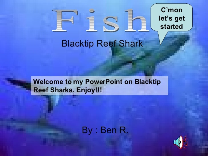 Blacktip Reef Shark By : Ben R. Fish Welcome to my PowerPoint on Blacktip Reef Sharks. Enjoy!!! C'mon let's get started