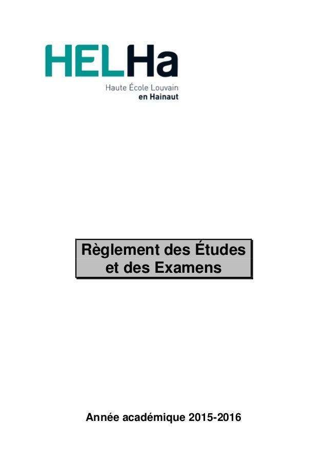 Règlement des Études et des Examens Année académique 2015-2016