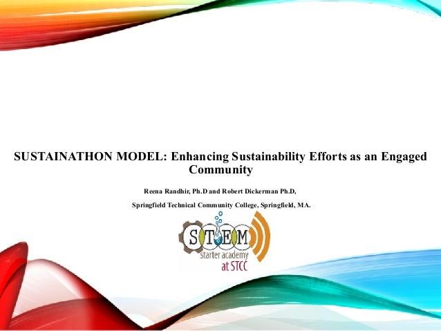 SUSTAINATHON MODEL: Enhancing Sustainability Efforts as an Engaged Community  Reena Randhir, Ph.D and Robert Dickerman P...
