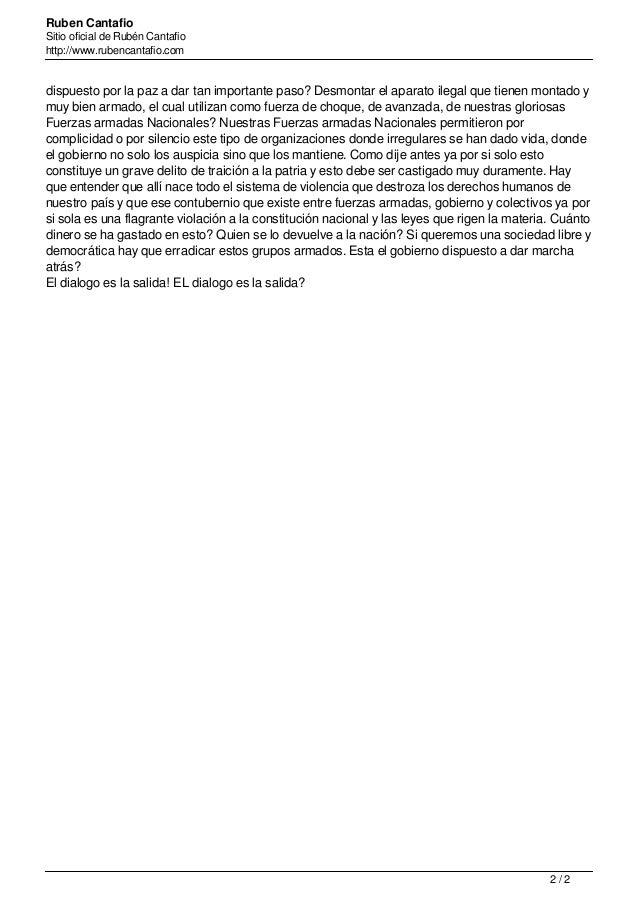 Ruben Cantafio Sitio oficial de Rubén Cantafio http://www.rubencantafio.com dispuesto por la paz a dar tan importante paso...