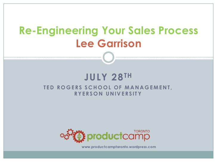 Re-Engineering Your Sales Process          Lee Garrison              JULY 28 TH    TED ROGERS SCHOOL OF MANAGEMENT,       ...