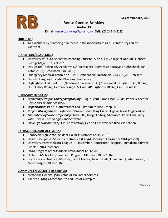Reese Brinkley Resume