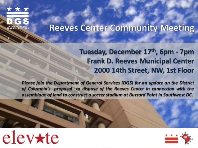 Tuesday, December 17th, 6pm - 7pm Frank D. Reeves Municipal Center 2000 14th Street, NW, 1st Floor Please join the Departm...
