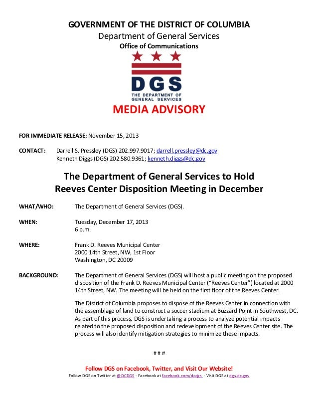 GOVERNMENT OF THE DISTRICT OF COLUMBIA Department of General Services Office of Communications  MEDIA ADVISORY FOR IMMEDIA...