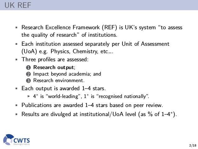 Replacing peer review by metrics in the UK REF? Slide 2