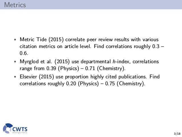 Replacing peer review by metrics in the UK REF? Slide 3