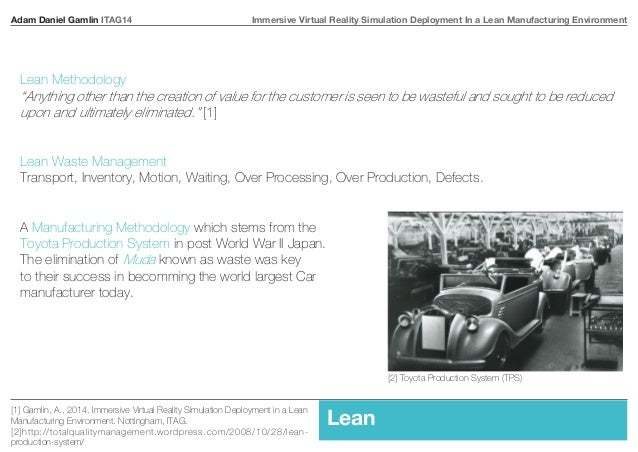 Adam Daniel Gamlin ITAG14 Immersive Virtual Reality Simulation Deployment In a Lean Manufacturing Environment  Lean Method...