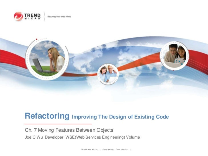 Classification 4/22/2011<br />1<br />Refactoring Improving The Design of Existing Code<br />Ch. 7 Moving Features Between ...