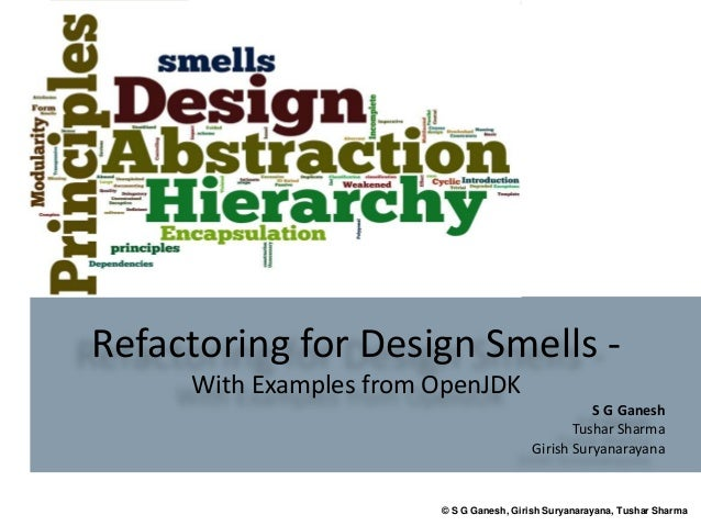 © S G Ganesh, Girish Suryanarayana, Tushar Sharma Refactoring for Design Smells - With Examples from OpenJDK S G Ganesh Tu...