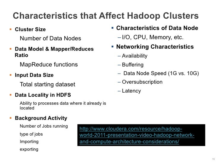 Characteristics that Affect Hadoop Clusters§  Cluster Size                                    §  Characteristics of Data...