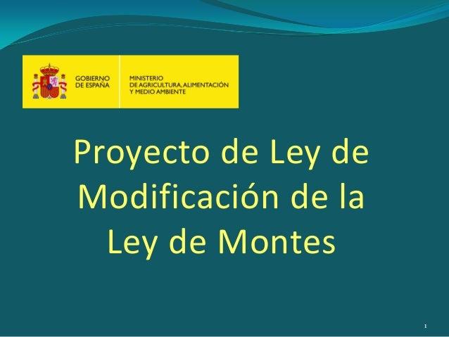 Proyecto de Ley de Modificación de la Ley de Montes 1