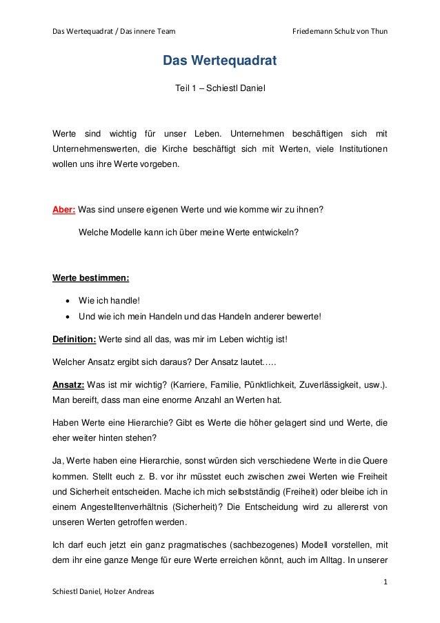 Das Wertequadrat / Das innere Team Friedemann Schulz von Thun  1  Schiestl Daniel, Holzer Andreas  Das Wertequadrat  Teil ...