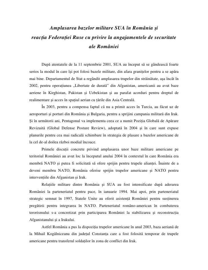 Amplasarea bazelor militare SUA în România şi  reac ia Federa iei Ruse cu privire la angajamentele de securitate          ...