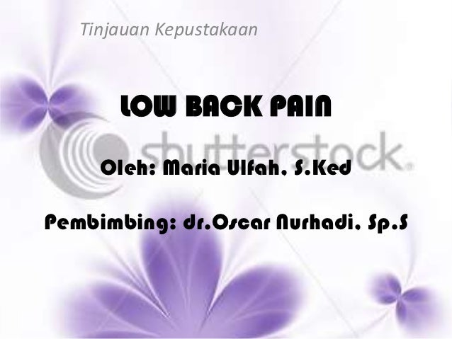 Tinjauan Kepustakaan       LOW BACK PAIN     Oleh: Maria Ulfah, S.KedPembimbing: dr.Oscar Nurhadi, Sp.S