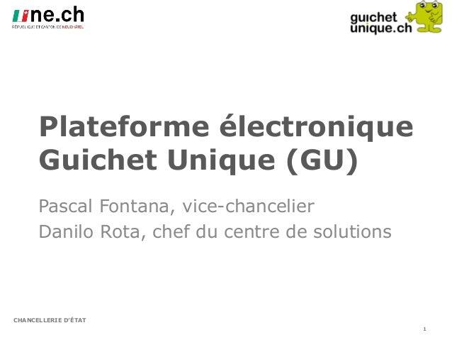 CHANCELLERIE D'ÉTAT Plateforme électronique Guichet Unique (GU) Pascal Fontana, vice-chancelier Danilo Rota, chef du centr...