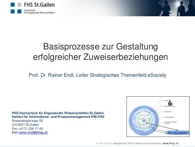 Basisprozesse zur Gestaltung erfolgreicher Zuweiserbeziehungen Prof. Dr. Rainer Endl, Leiter Strategisches Themenfeld eSoc...