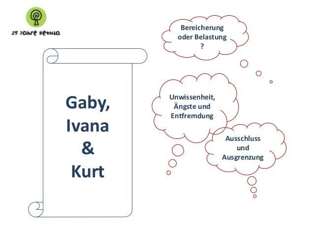Bereicherung oder Belastung ?  Gaby, Ivana & Kurt  Unwissenheit, Ängste und Entfremdung Ausschluss und Ausgrenzung
