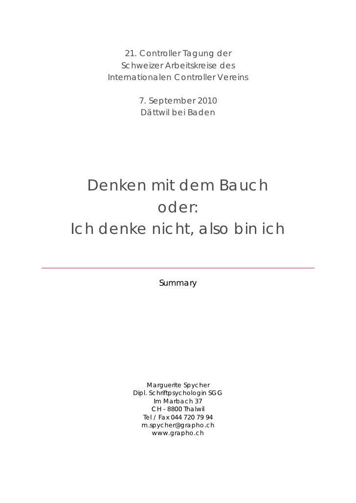 21. Controller Tagung der          Schweizer Arbeitskreise des      Internationalen Controller Vereins              7. Sep...