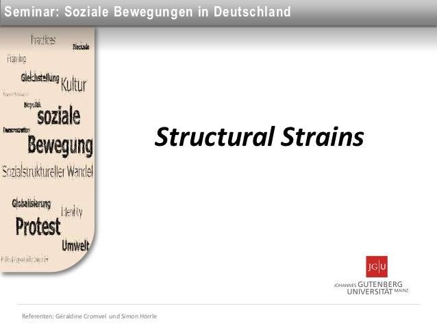 Seminar: Soziale Bewegungen in Deutschland                                               Structural Strains  Referenten: G...