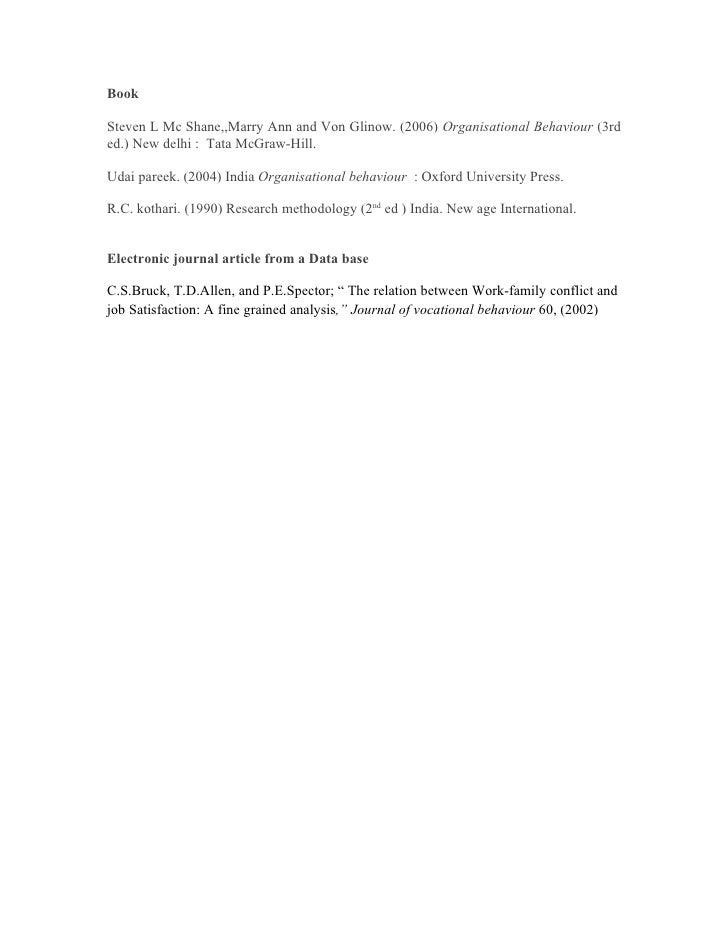 BookSteven L Mc Shane,,Marry Ann and Von Glinow. (2006) Organisational Behaviour (3rded.) New delhi : Tata McGraw-Hill.Uda...
