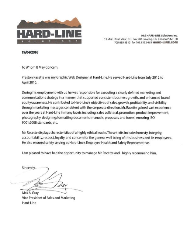 Reference Letter: Max Gray, VP of Sales and Marketing